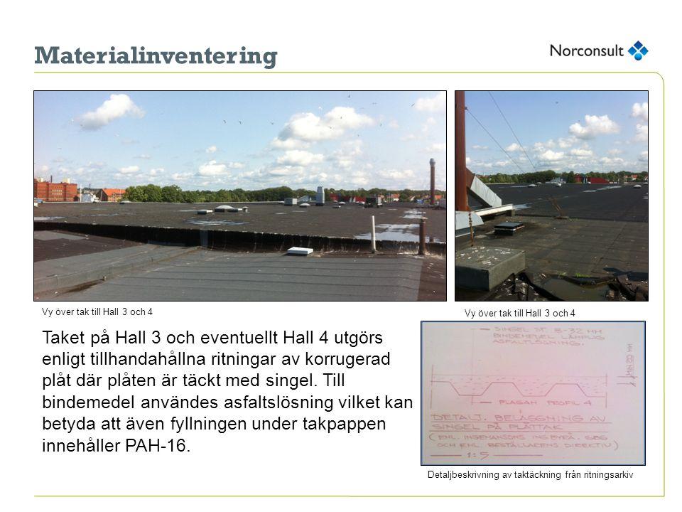 Materialinventering Taket på Hall 3 och eventuellt Hall 4 utgörs enligt tillhandahållna ritningar av korrugerad plåt där plåten är täckt med singel.