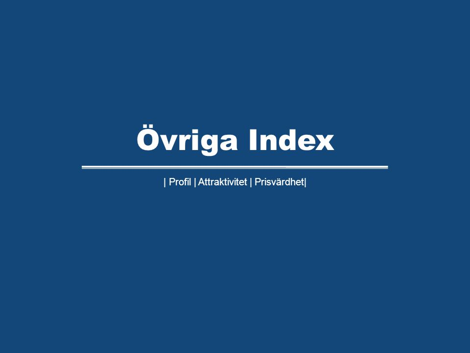 | Profil | Attraktivitet | Prisvärdhet| Övriga Index