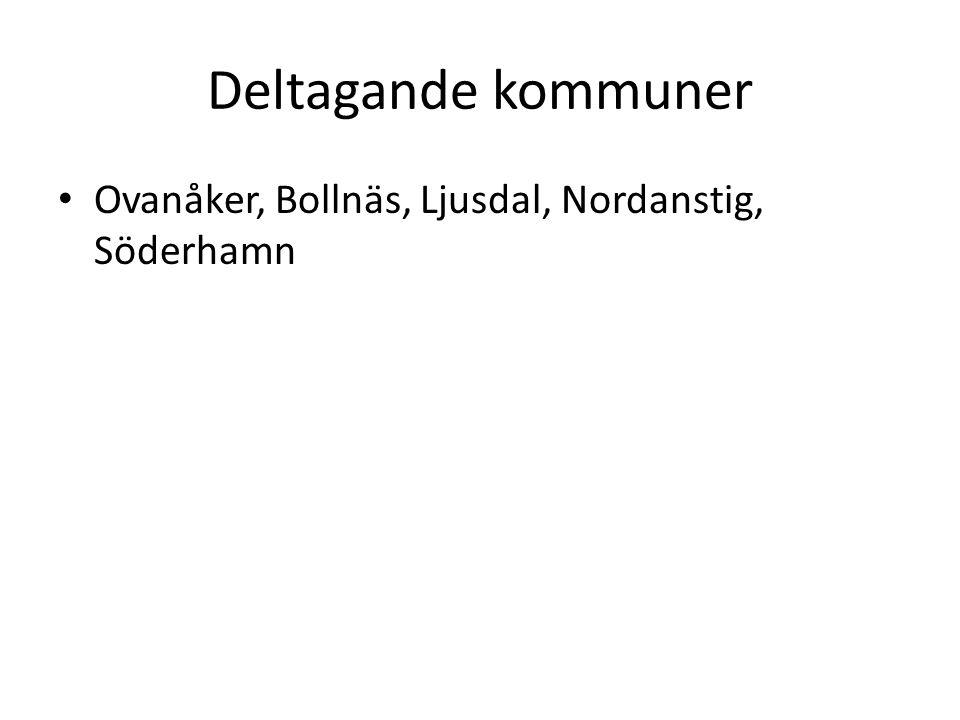 Projektorganisation • Styrgrupp är Hälsingerådet • Projektägare är kommunchef Margareta Högberg, Söderhamn • Projektledningsgrupp är kommuncheferna i de deltagande kommunerna • Projektledare är Else-Marie Nilsson • Projektgrupp är personalcheferna i de deltagande kommunerna, jurist Torbjörn Strömer