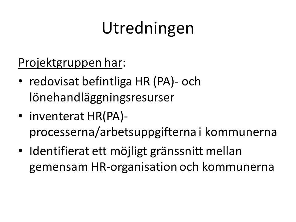 Utredningen forts Projektgruppen ska: • Analysera rekryterings- och löneöversynsprocesserna utifrån alternativa HR (PA)-organisationer • Analysera beställningsprocesser allmänt utifrån alternativa HR (PA)-organisationer • Analysera konsekvenser för alternativa gränssnitt mellan gemensam HR-organisation och kommunerna