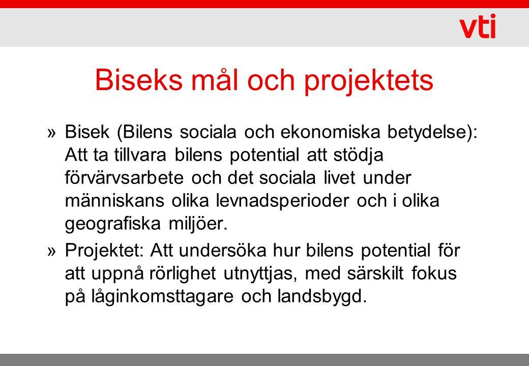Biseks mål och projektets »Bisek (Bilens sociala och ekonomiska betydelse): Att ta tillvara bilens potential att stödja förvärvsarbete och det sociala livet under människans olika levnadsperioder och i olika geografiska miljöer.