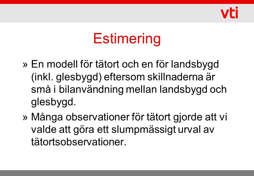 Estimering »En modell för tätort och en för landsbygd (inkl. glesbygd) eftersom skillnaderna är små i bilanvändning mellan landsbygd och glesbygd. »Må