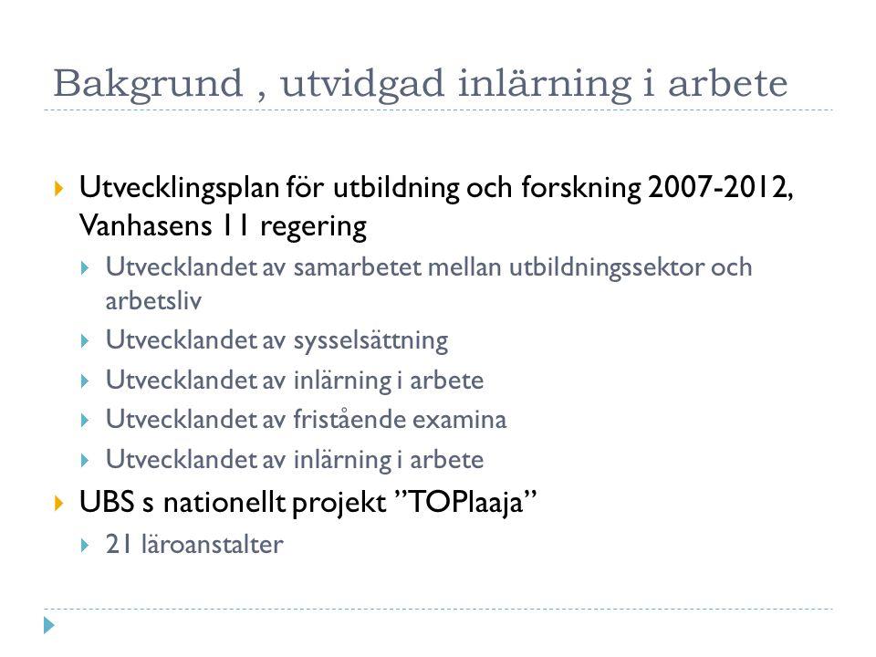 Bakgrund, utvidgad inlärning i arbete  Utvecklingsplan för utbildning och forskning 2007-2012, Vanhasens 11 regering  Utvecklandet av samarbetet mellan utbildningssektor och arbetsliv  Utvecklandet av sysselsättning  Utvecklandet av inlärning i arbete  Utvecklandet av fristående examina  Utvecklandet av inlärning i arbete  UBS s nationellt projekt TOPlaaja  21 läroanstalter