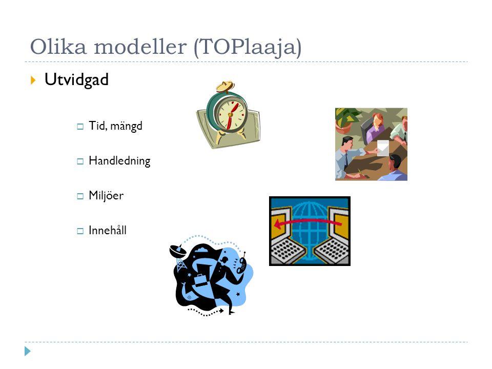 Olika modeller (TOPlaaja)  Utvidgad  Tid, mängd  Handledning  Miljöer  Innehåll