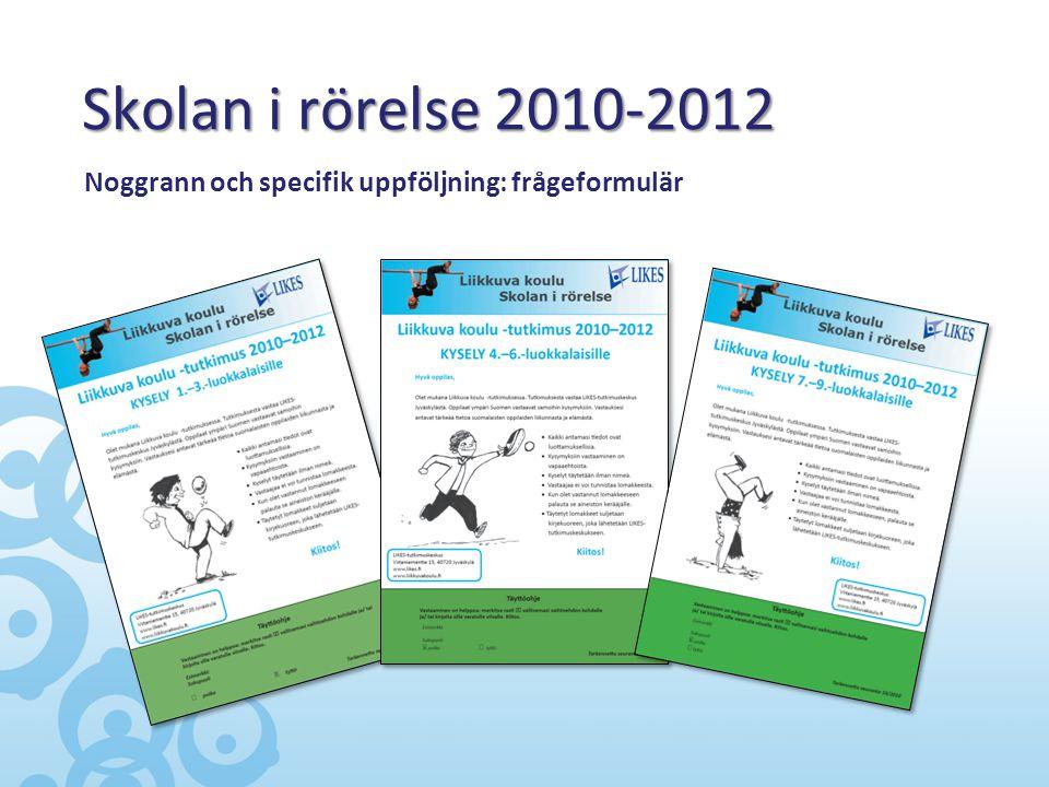 Skolan i rörelse 2010-2012 Noggrann och specifik uppföljning: frågeformulär