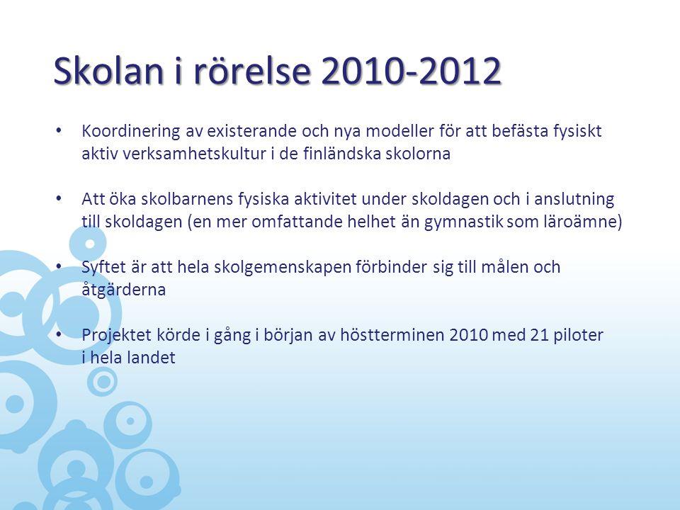 Skolan i rörelse 2010-2012 • Koordinering av existerande och nya modeller för att befästa fysiskt aktiv verksamhetskultur i de finländska skolorna • A