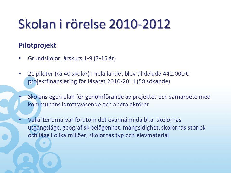 Skolan i rörelse 2010-2012 Pilotprojekt • Grundskolor, årskurs 1-9 (7-15 år) • 21 piloter (ca 40 skolor) i hela landet blev tilldelade 442.000 € proje