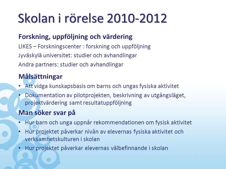 Skolan i rörelse 2010-2012 Forskning, uppföljning och värdering LIKES – Forskningscenter : forskning och uppföljning Jyväskylä universitet: studier oc
