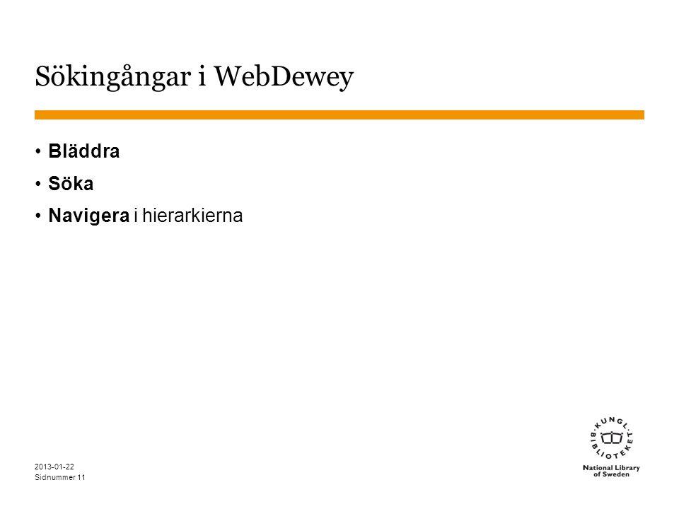 Sidnummer 2013-01-22 11 Sökingångar i WebDewey •Bläddra •Söka •Navigera i hierarkierna
