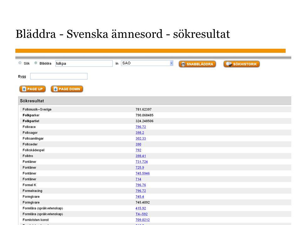 Sidnummer 2013-01-22 22 Bläddra - Svenska ämnesord - sökresultat