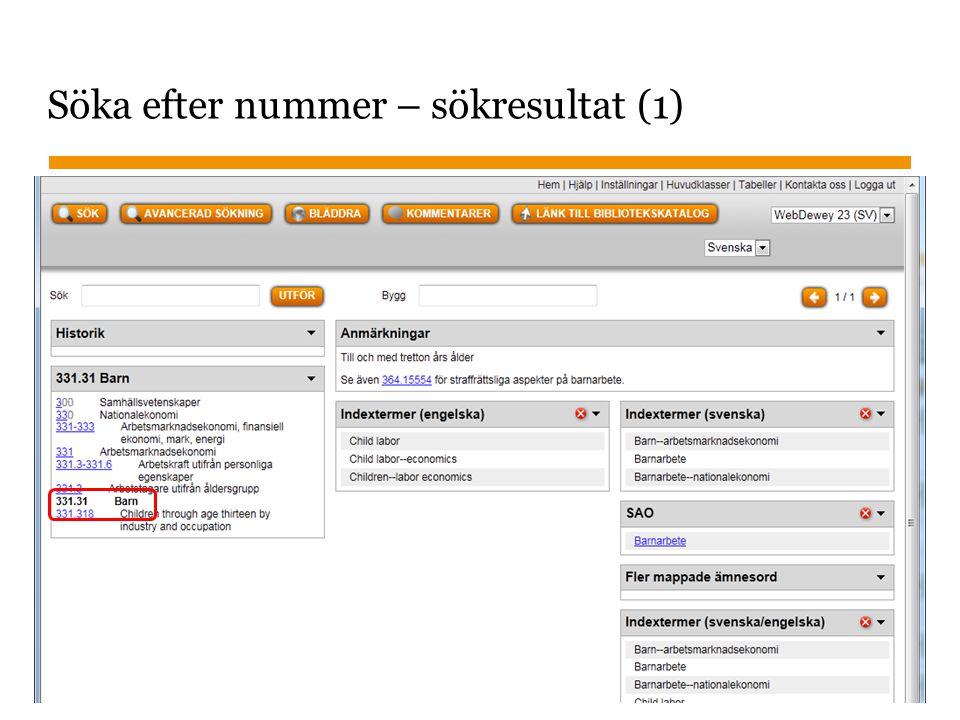 Sidnummer 2013-01-22 25 Söka efter nummer – sökresultat (1)
