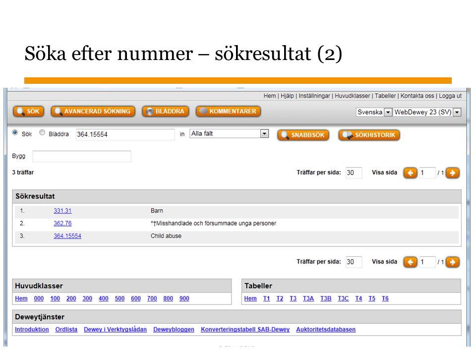 Sidnummer Söka efter nummer – sökresultat (2) 2013-01-22 26