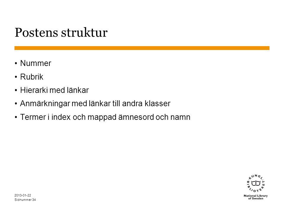 Sidnummer 2013-01-22 34 Postens struktur •Nummer •Rubrik •Hierarki med länkar •Anmärkningar med länkar till andra klasser •Termer i index och mappad ä