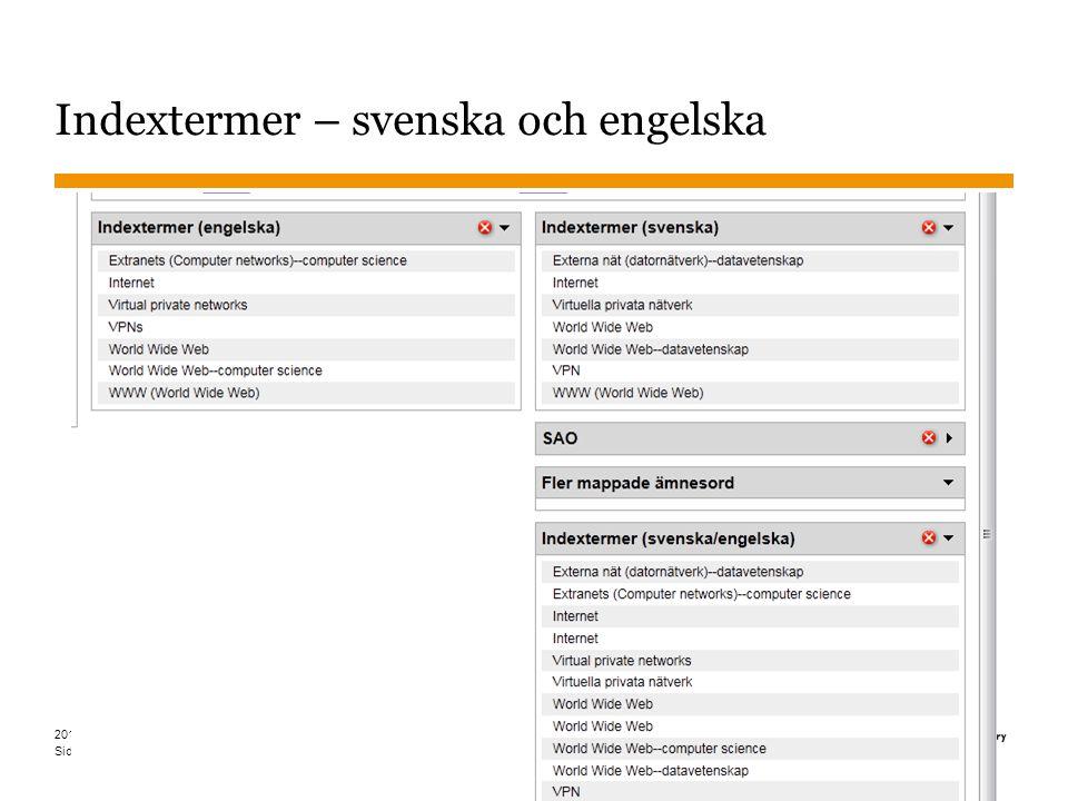 Sidnummer 2013-01-22 36 Indextermer – svenska och engelska