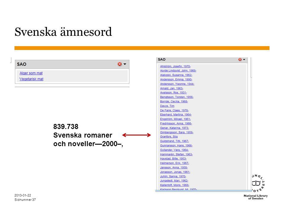Sidnummer 2013-01-22 37 Svenska ämnesord 839.738 Svenska romaner och noveller—2000–,