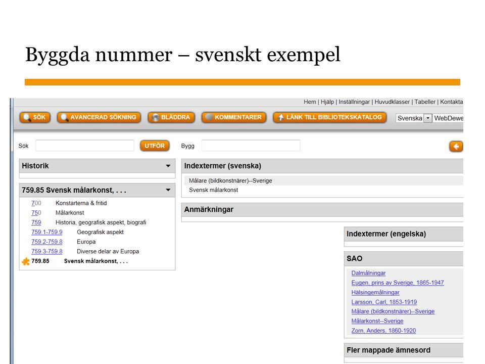 Sidnummer 2013-01-22 43 Byggda nummer – svenskt exempel