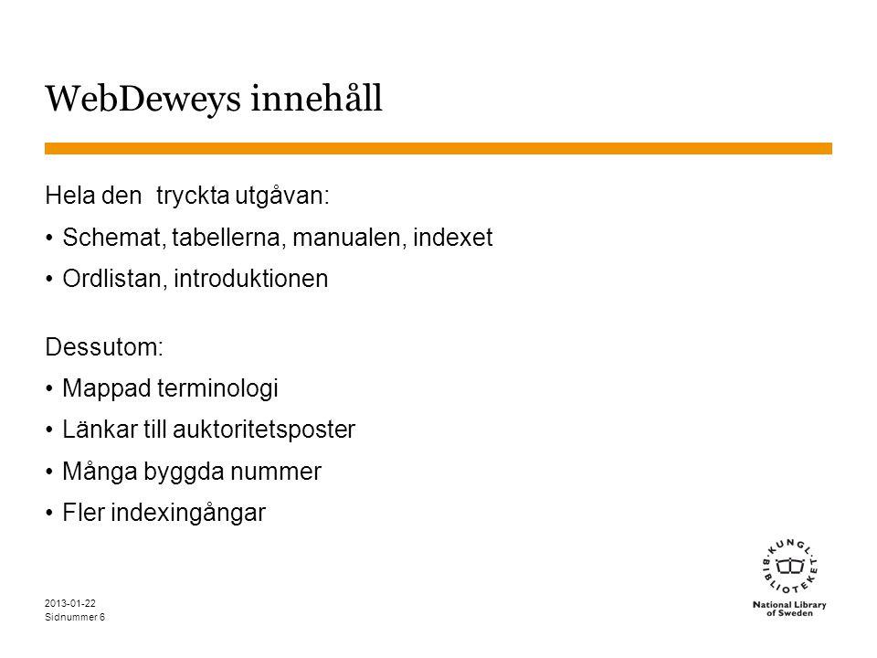 Sidnummer 2013-01-22 6 WebDeweys innehåll Hela den tryckta utgåvan: •Schemat, tabellerna, manualen, indexet •Ordlistan, introduktionen Dessutom: •Mapp