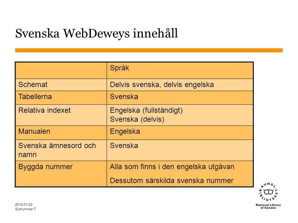 Sidnummer 2013-01-22 7 Svenska WebDeweys innehåll Språk SchematDelvis svenska, delvis engelska TabellernaSvenska Relativa indexet Engelska (fullständi