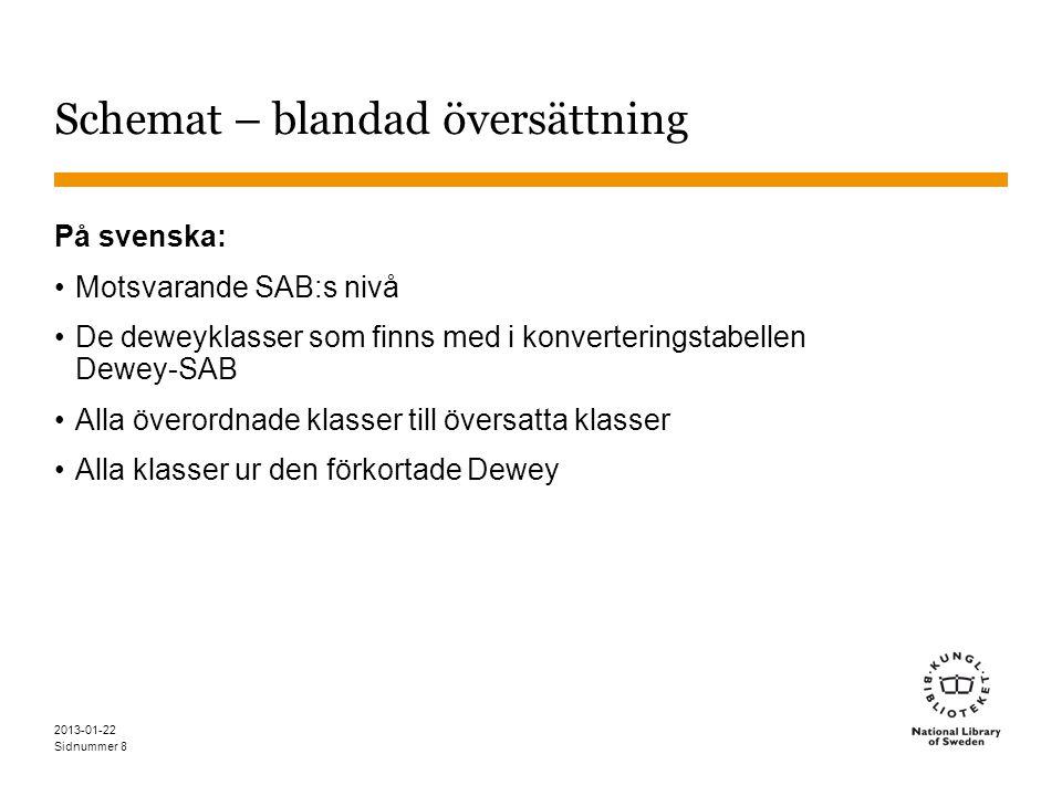 Sidnummer 2013-01-22 8 Schemat – blandad översättning På svenska: •Motsvarande SAB:s nivå •De deweyklasser som finns med i konverteringstabellen Dewey