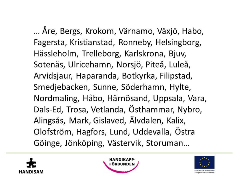 … Åre, Bergs, Krokom, Värnamo, Växjö, Habo, Fagersta, Kristianstad, Ronneby, Helsingborg, Hässleholm, Trelleborg, Karlskrona, Bjuv, Sotenäs, Ulricehamn, Norsjö, Piteå, Luleå, Arvidsjaur, Haparanda, Botkyrka, Filipstad, Smedjebacken, Sunne, Söderhamn, Hylte, Nordmaling, Håbo, Härnösand, Uppsala, Vara, Dals-Ed, Trosa, Vetlanda, Östhammar, Nybro, Alingsås, Mark, Gislaved, Älvdalen, Kalix, Olofström, Hagfors, Lund, Uddevalla, Östra Göinge, Jönköping, Västervik, Storuman…
