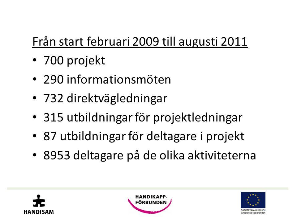 Från start februari 2009 till augusti 2011 • 700 projekt • 290 informationsmöten • 732 direktvägledningar • 315 utbildningar för projektledningar • 87 utbildningar för deltagare i projekt • 8953 deltagare på de olika aktiviteterna