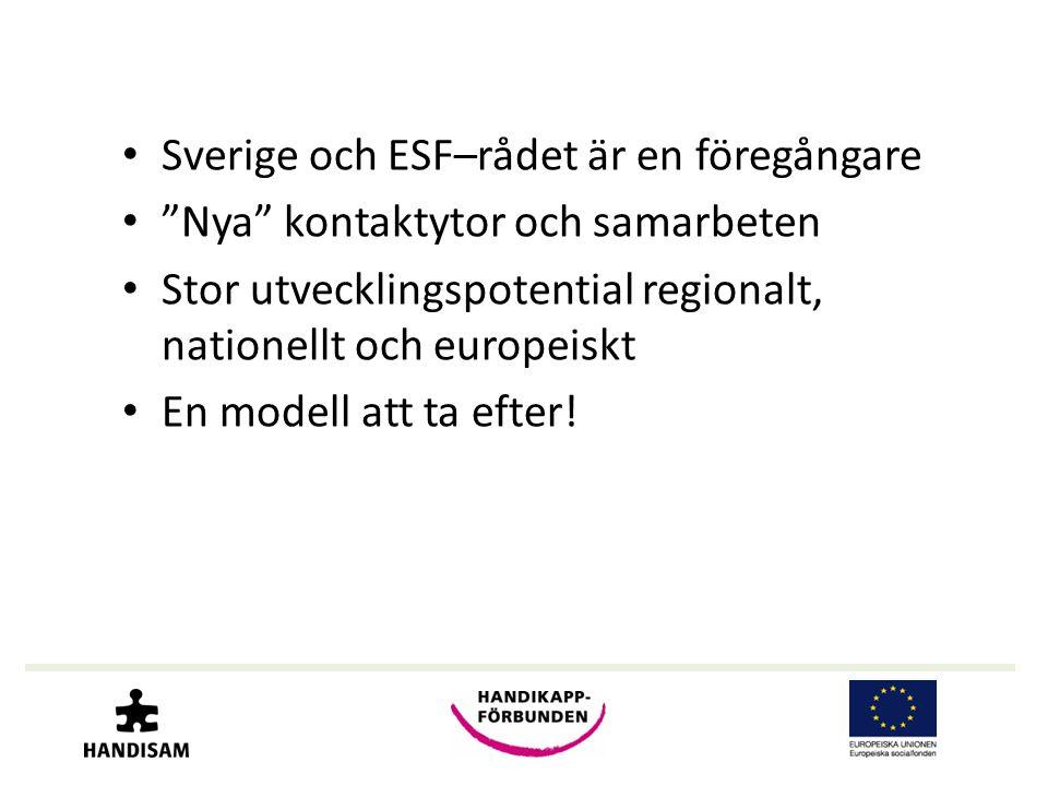 • Sverige och ESF–rådet är en föregångare • Nya kontaktytor och samarbeten • Stor utvecklingspotential regionalt, nationellt och europeiskt • En modell att ta efter!