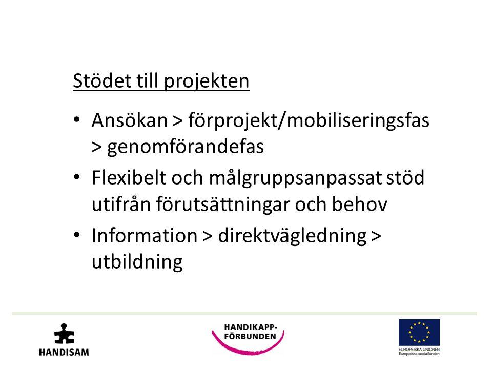 Stödet till projekten • Ansökan > förprojekt/mobiliseringsfas > genomförandefas • Flexibelt och målgruppsanpassat stöd utifrån förutsättningar och behov • Information > direktvägledning > utbildning