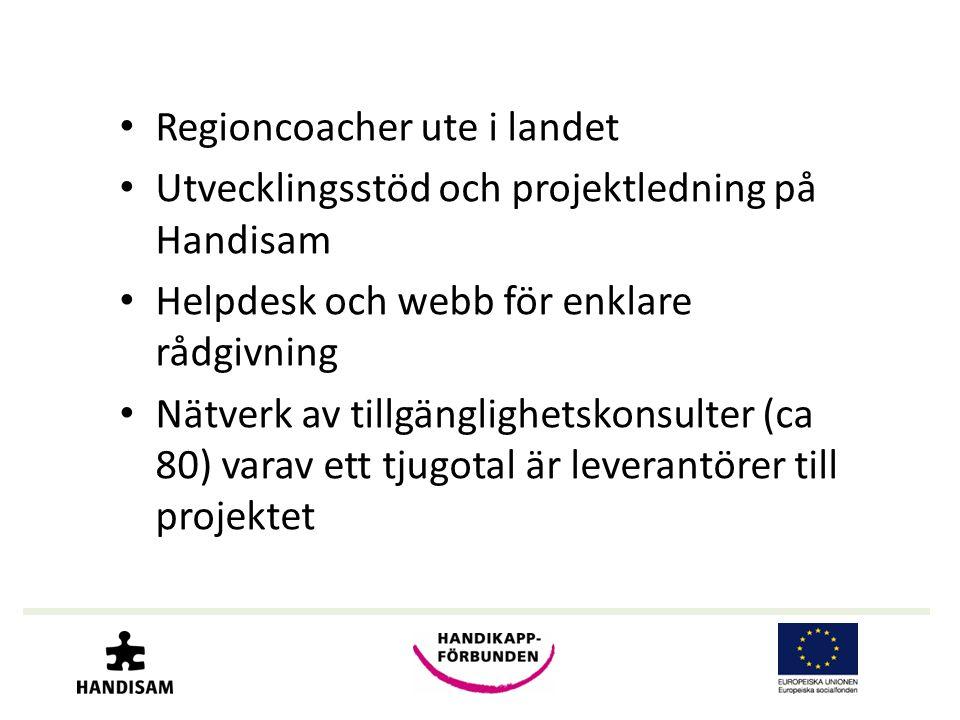 • Regioncoacher ute i landet • Utvecklingsstöd och projektledning på Handisam • Helpdesk och webb för enklare rådgivning • Nätverk av tillgänglighetskonsulter (ca 80) varav ett tjugotal är leverantörer till projektet