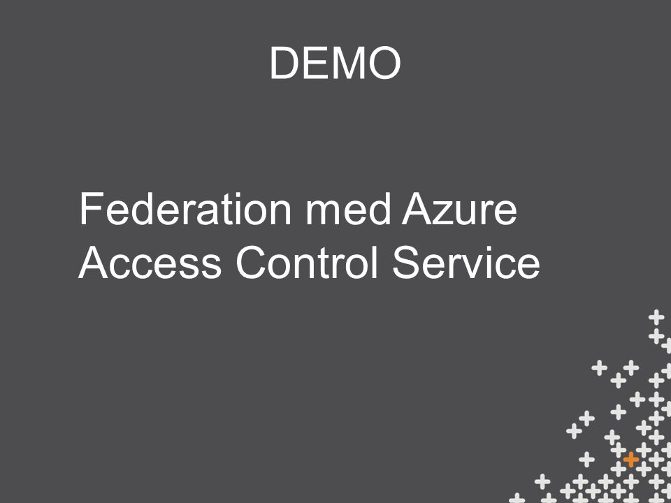 DEMO Federation med Azure Access Control Service