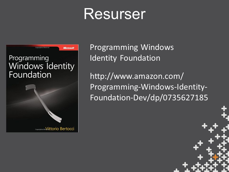 Resurser Programming Windows Identity Foundation http://www.amazon.com/ Programming-Windows-Identity- Foundation-Dev/dp/0735627185