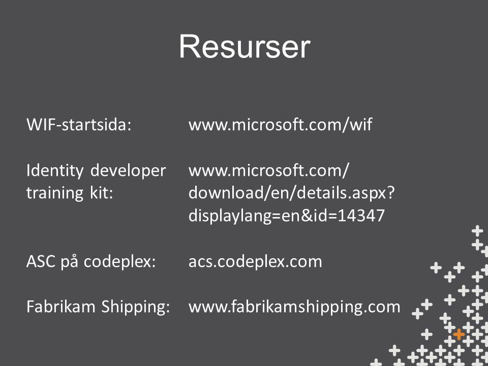 Resurser www.microsoft.com/wif www.microsoft.com/ download/en/details.aspx.
