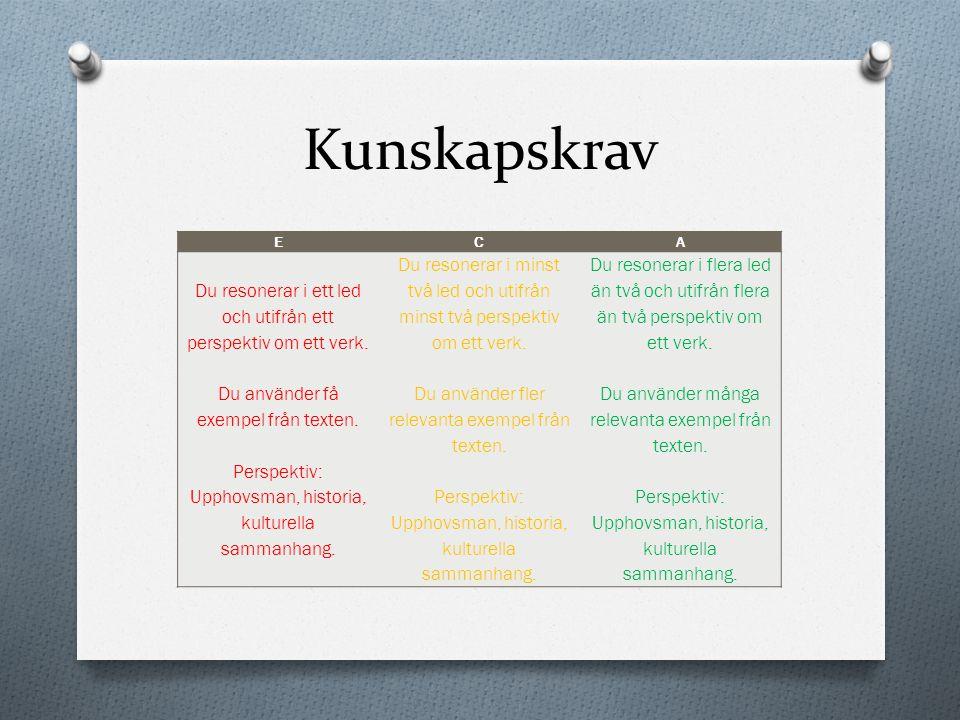 Kunskapskrav ECA Du resonerar i ett led och utifrån ett perspektiv om ett verk. Du använder få exempel från texten. Perspektiv: Upphovsman, historia,