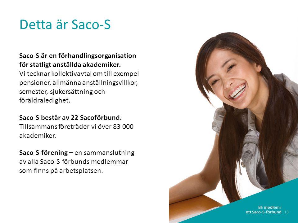 13 Bli medlem i ett Saco-S-förbund Detta är Saco-S Saco-S är en förhandlingsorganisation för statligt anställda akademiker.