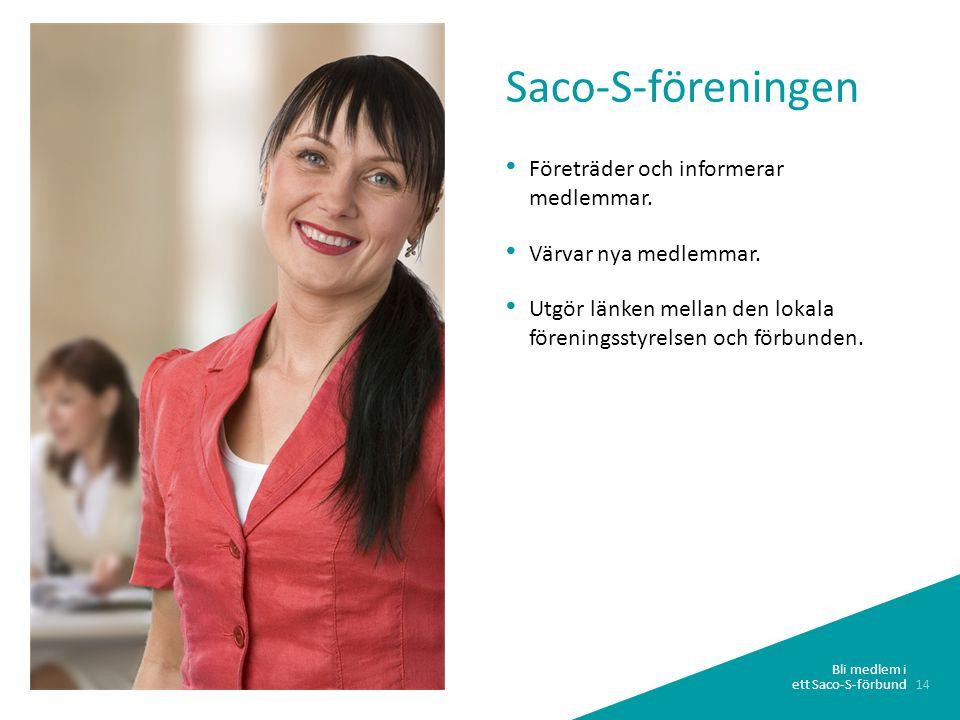 14 Bli medlem i ett Saco-S-förbund • Företräder och informerar medlemmar.
