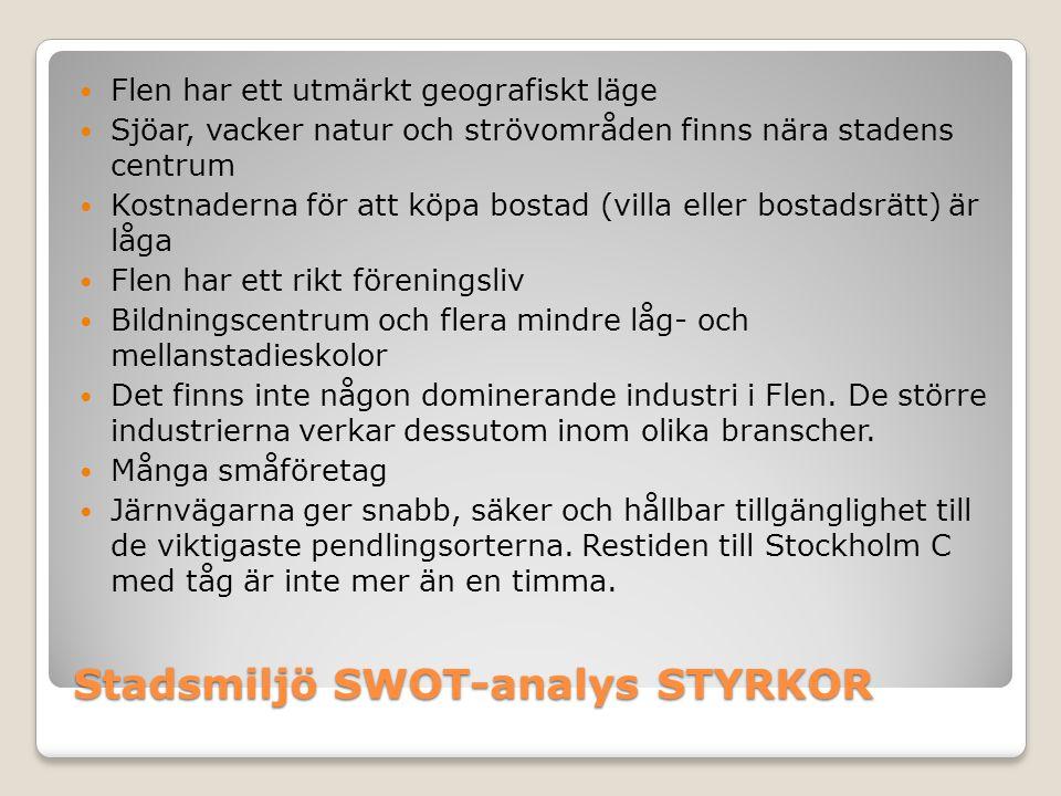 Stadsmiljö SWOT-analys STYRKOR  Flen har ett bra utbud av livsmedelbutiker  Det finns en närhet, som gör att alla känner alla  Bra läge /regionalt /nationellt/internationellt  Internationell kapacitet  Närhet till Stockholm  Fritidsboende möjligheter  Boendemiljöer  Korta beslutsvägar