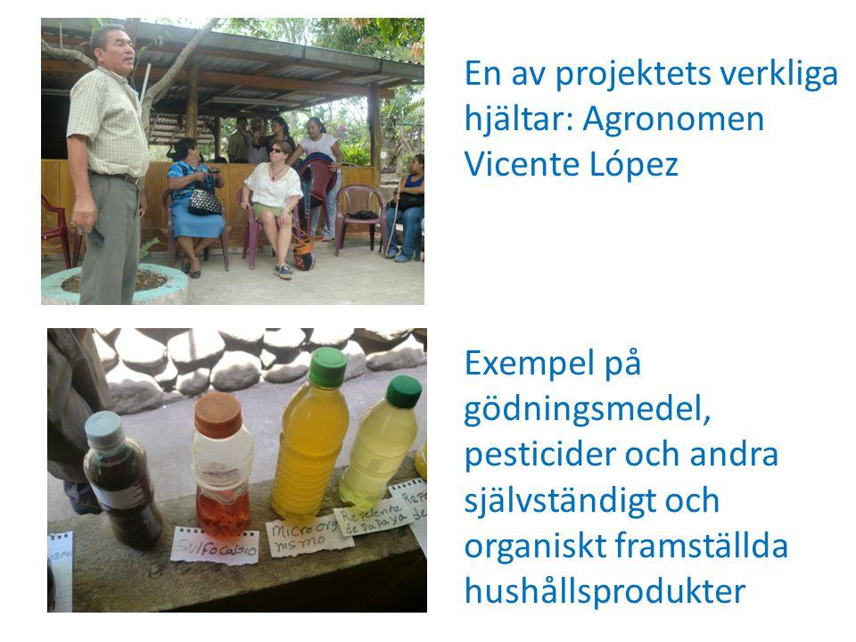 Exempel på gödningsmedel, pesticider och andra självständigt och organiskt framställda hushållsprodukter En av projektets verkliga hjältar: Agronomen