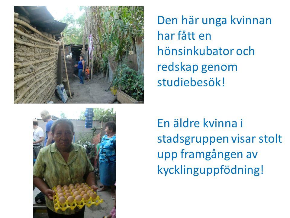 En äldre kvinna i stadsgruppen visar stolt upp framgången av kycklinguppfödning.
