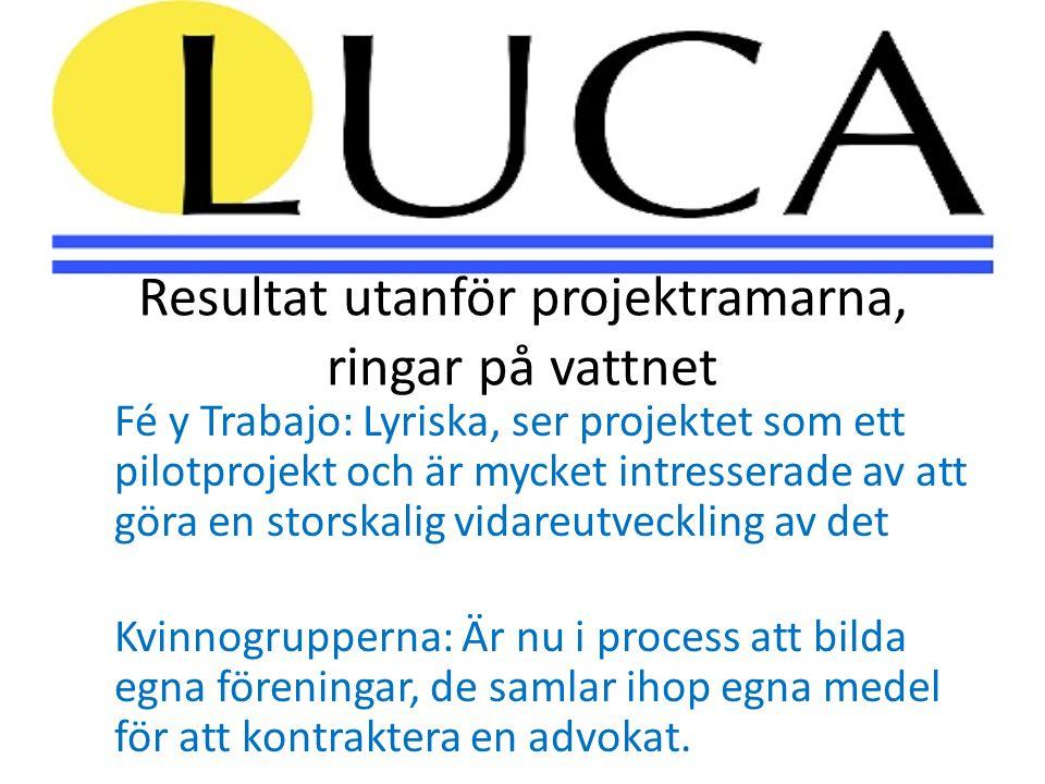 Resultat utanför projektramarna, ringar på vattnet Fé y Trabajo: Lyriska, ser projektet som ett pilotprojekt och är mycket intresserade av att göra en