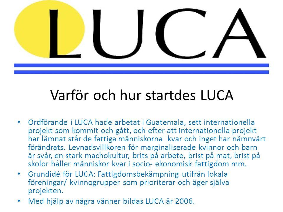 Varför och hur startdes LUCA • Ordförande i LUCA hade arbetat i Guatemala, sett internationella projekt som kommit och gått, och efter att internationella projekt har lämnat står de fattiga människorna kvar och inget har nämnvärt förändrats.