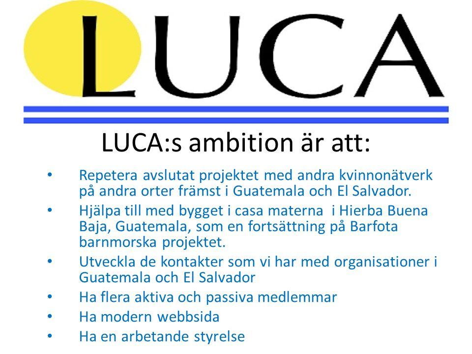LUCA:s ambition är att: • Repetera avslutat projektet med andra kvinnonätverk på andra orter främst i Guatemala och El Salvador. • Hjälpa till med byg