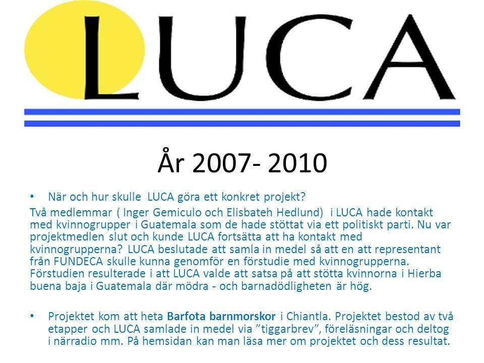År 2007- 2010 • När och hur skulle LUCA göra ett konkret projekt? Två medlemmar ( Inger Gemiculo och Elisbateh Hedlund) i LUCA hade kontakt med kvinno