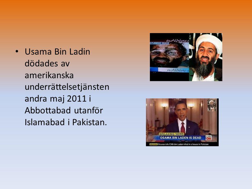 • Usama Bin Ladin dödades av amerikanska underrättelsetjänsten andra maj 2011 i Abbottabad utanför Islamabad i Pakistan.