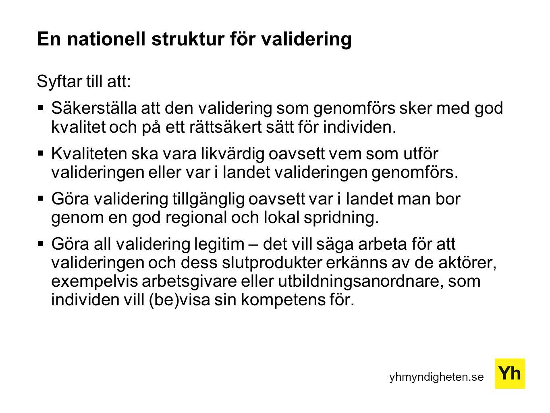 yhmyndigheten.se Nationell struktur för validering Utgörs av:  Rättsliga strukturer och förutsättningar  Finansiella strukturer och förutsättningar  Infrastruktur  Kriterier och riktlinjer  Roll- och ansvarfördelning för involverade aktörer