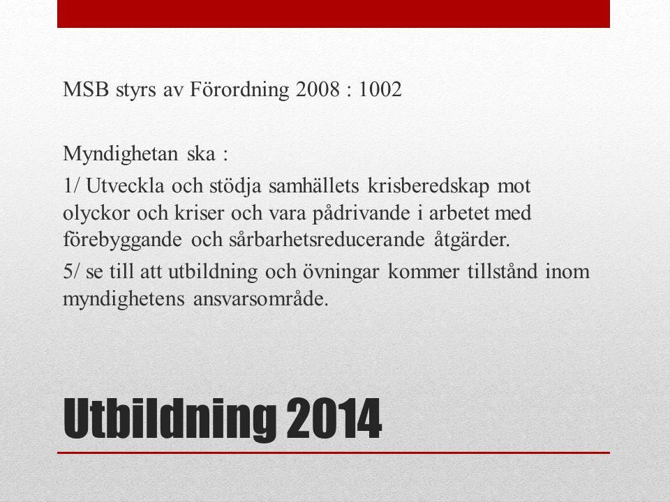 Utbildning 2014 MSB styrs av Förordning 2008 : 1002 Myndighetan ska : 1/ Utveckla och stödja samhällets krisberedskap mot olyckor och kriser och vara