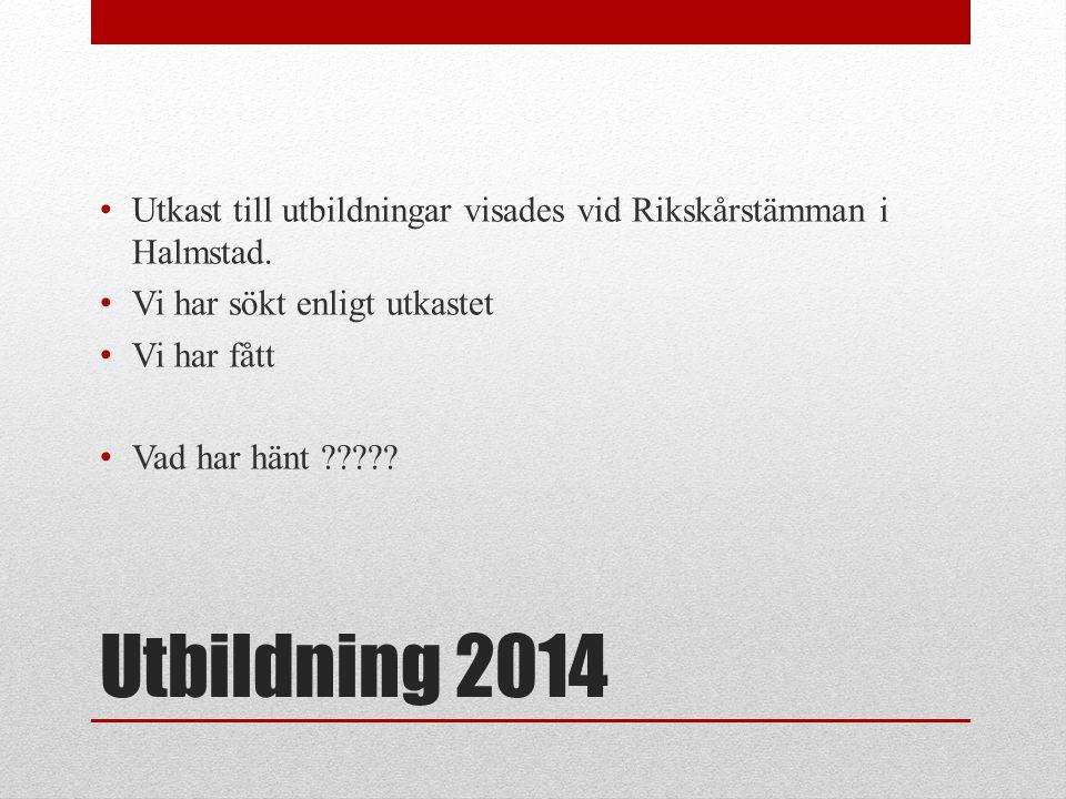 Utbildning 2014 • Utkast till utbildningar visades vid Rikskårstämman i Halmstad. • Vi har sökt enligt utkastet • Vi har fått • Vad har hänt ?????