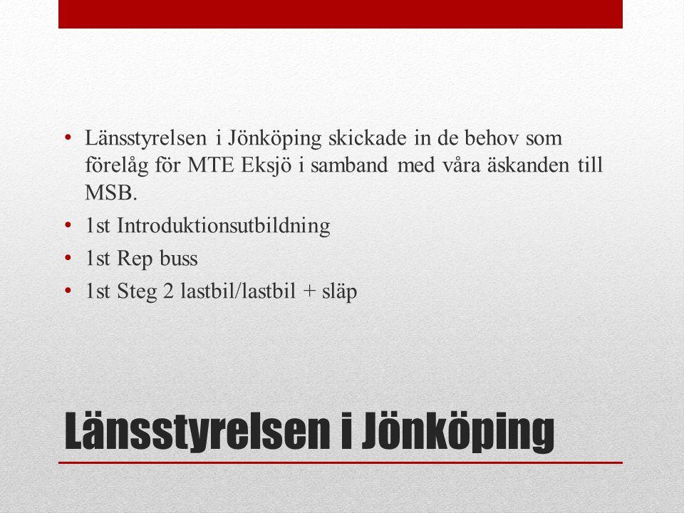 Länsstyrelsen i Jönköping • Länsstyrelsen i Jönköping skickade in de behov som förelåg för MTE Eksjö i samband med våra äskanden till MSB. • 1st Intro
