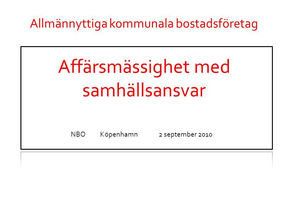 Allmännyttiga kommunala bostadsföretag Affärsmässighet med samhällsansvar NBOKöpenhamn2 september 2010