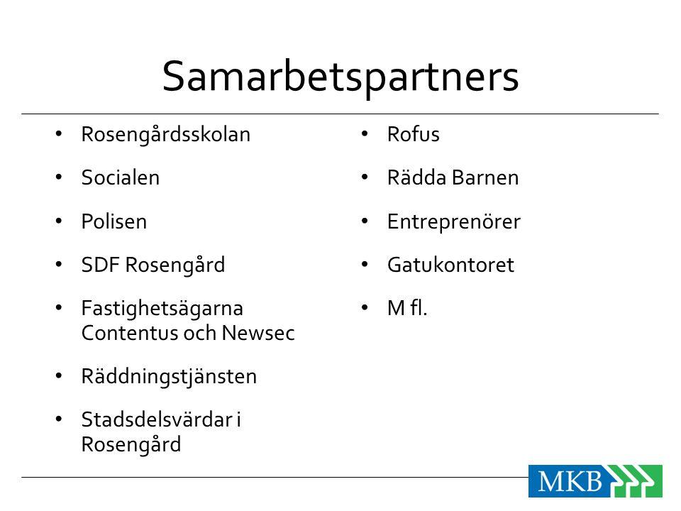 Samarbetspartners • Rosengårdsskolan • Socialen • Polisen • SDF Rosengård • Fastighetsägarna Contentus och Newsec • Räddningstjänsten • Stadsdelsvärda