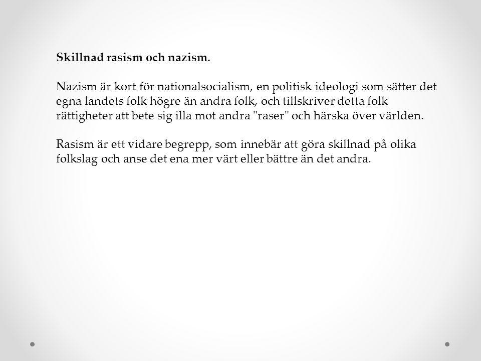 Skillnad rasism och nazism. Nazism är kort för nationalsocialism, en politisk ideologi som sätter det egna landets folk högre än andra folk, och tills