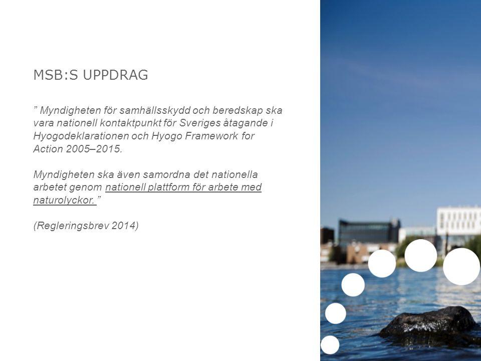 MSB:S UPPDRAG Myndigheten för samhällsskydd och beredskap ska vara nationell kontaktpunkt för Sveriges åtagande i Hyogodeklarationen och Hyogo Framework for Action 2005–2015.